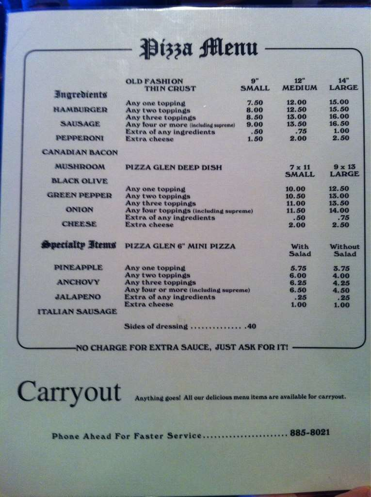 pizza glen menu 1